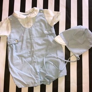 Petit Ami Gingham Blue with Bonnet 3 Months